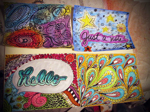 For a doodle me some notecards swap. I really am happy with how they came out!