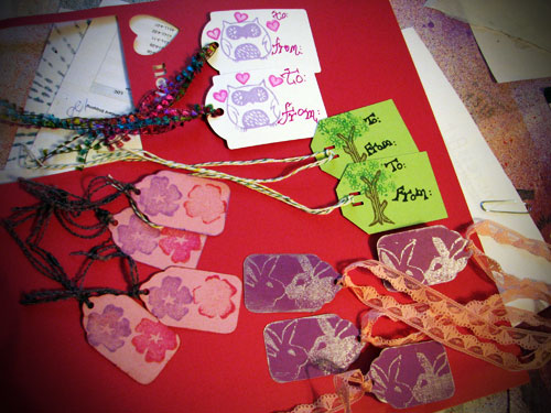 Gift tags using hand carved stamps