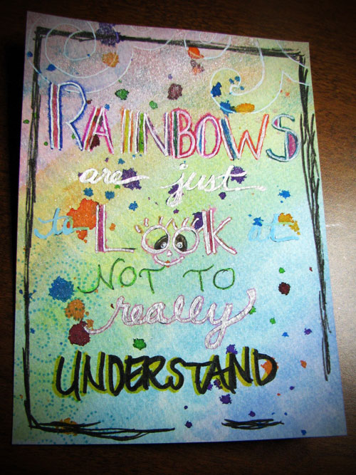Rainbow journal page swap. Do no like but posting in the hopes that I will look back at this and marvel at how far I've come!