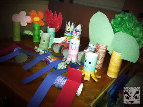 Made toilet paper roll crafts with Grandma