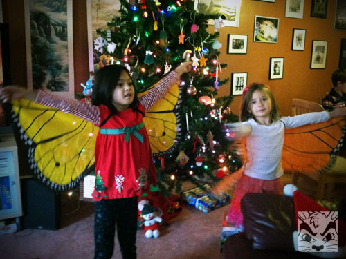The girls got butterfly wings!
