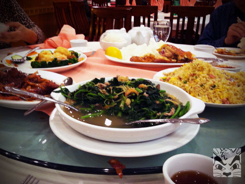 Our usuals; some sort of greens, fried rice, Hong Kong style steak, Walnut shrimp and chicken. YUM!