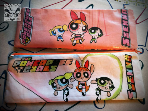 I made these 2 pencil pouches for Sienna. I printed the images on fabric and used my heat press to add iron on vinyl to it. This is the front (the bottom one Sienna colored). Of course I didn't take into account the seam allowance so some of the images get cut off.