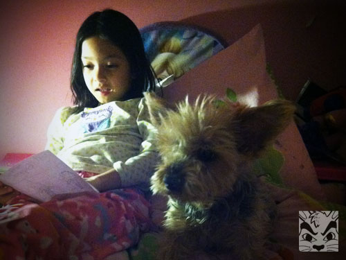 Sienna reading to Skippy in January 2014