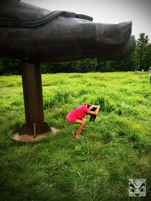 Being silly under Zhang Huan's sculpture